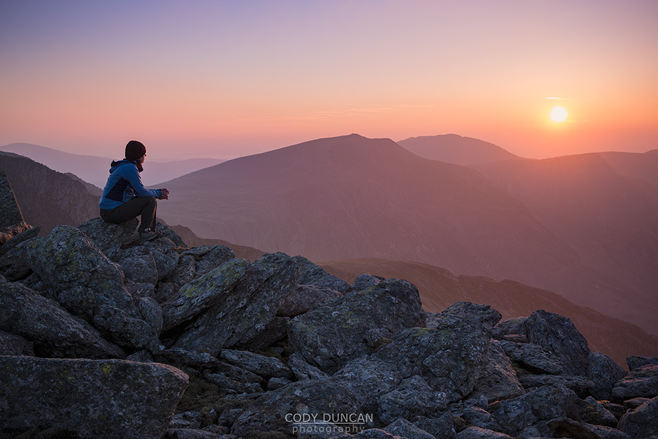 sunset over mountains from summit of Glyder Fach, Snowdonia national park, Wales