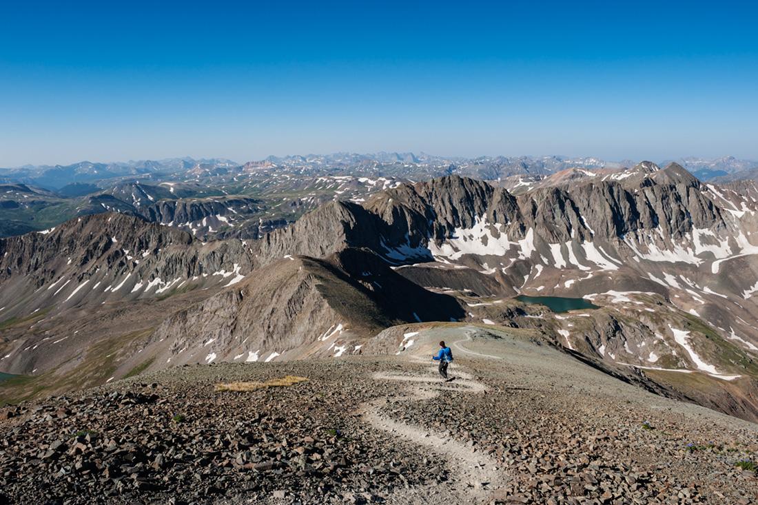 descending from Handies peak (14053 ft), San Juan mountains, Colorado, USA