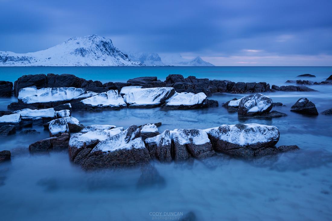 Ice coveres coastal rocks, Vik Beach, Vik, Vestvågøy, Lofoten Islands, Norway
