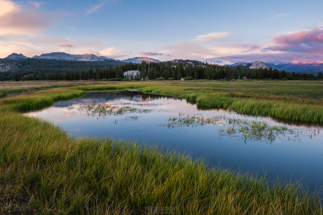 Sunset over flooded tuolumne meadows in summer, Yosemite national park, California, USA