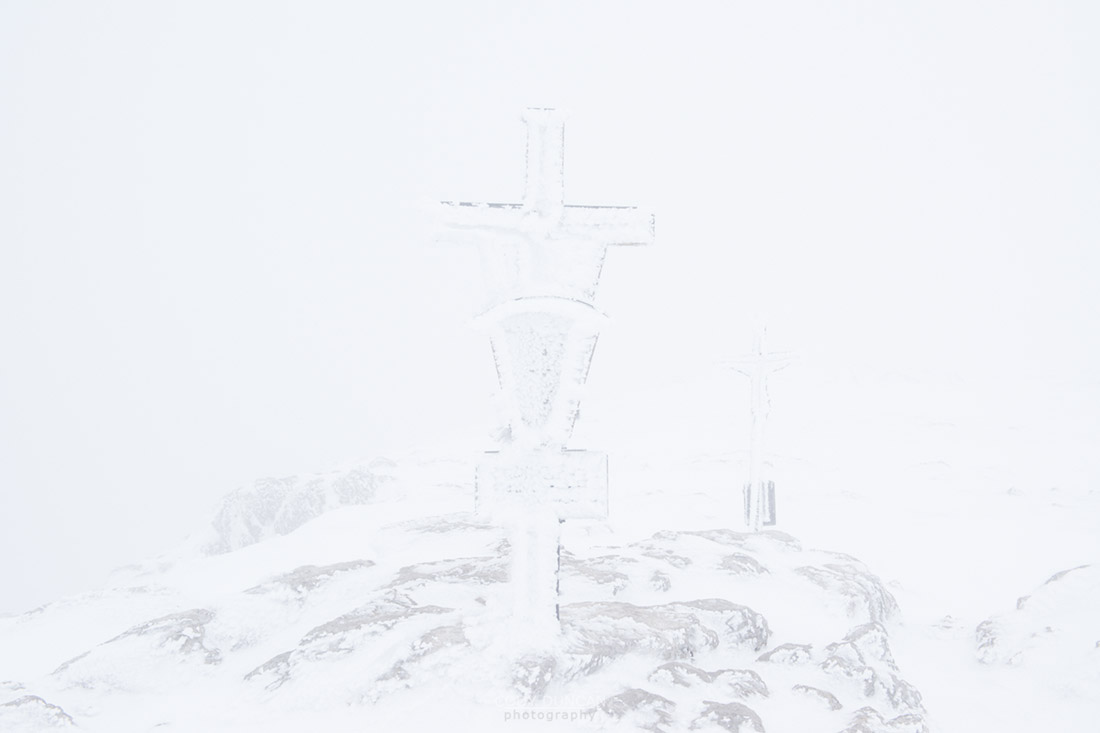 Whiteout on Schneibstein Summit, Berchtesgaten national park, Germany