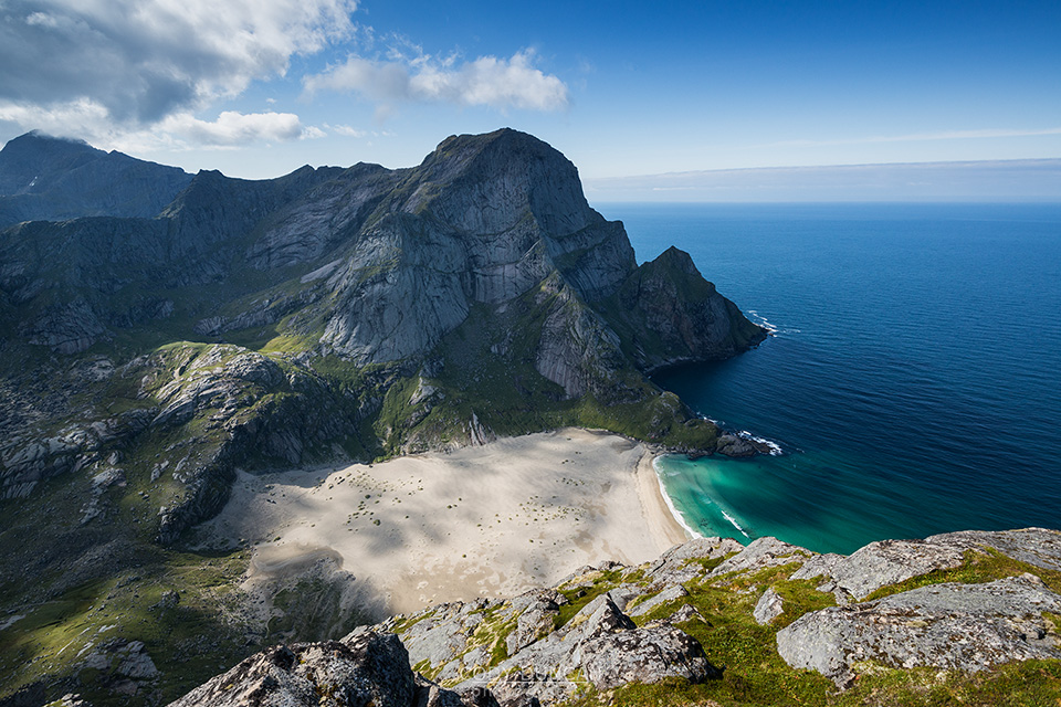 Bunes Beach from Helvetestinden, Lofoten Islands, Norway