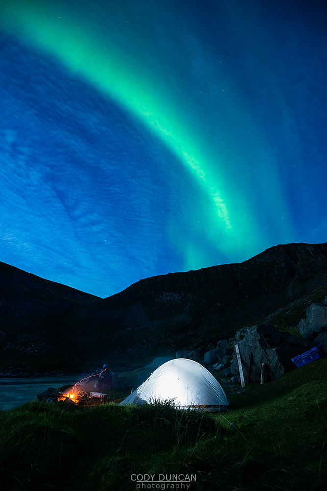 Northern Lights Kvalvika beach Lofoten Islands
