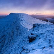 Winter dawn on Pen Y Fan from Corn Du, Brecon Beacons national park, Wales