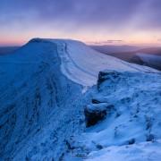 Winter dawn on Pen Y Fan from Corn Du, Brecon Beacons national park, Wales