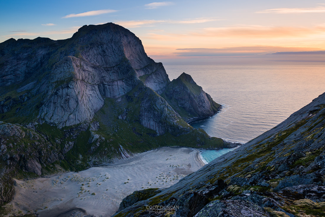 Bunes beach as viewed from Helvetestinden, Moskenesoy, Lofoten Islands, Norway