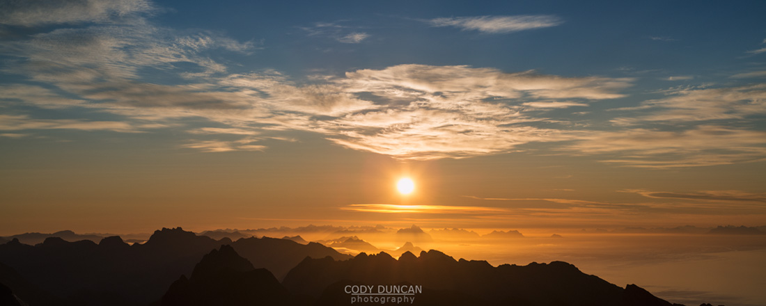 Lofoten Islands Sunrise from Hermannsdalstinden, Norway
