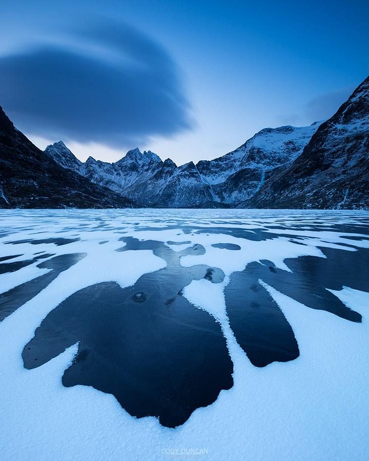 Frozen Lake Agvatnet in Winter, Lofoten Islands, Norway
