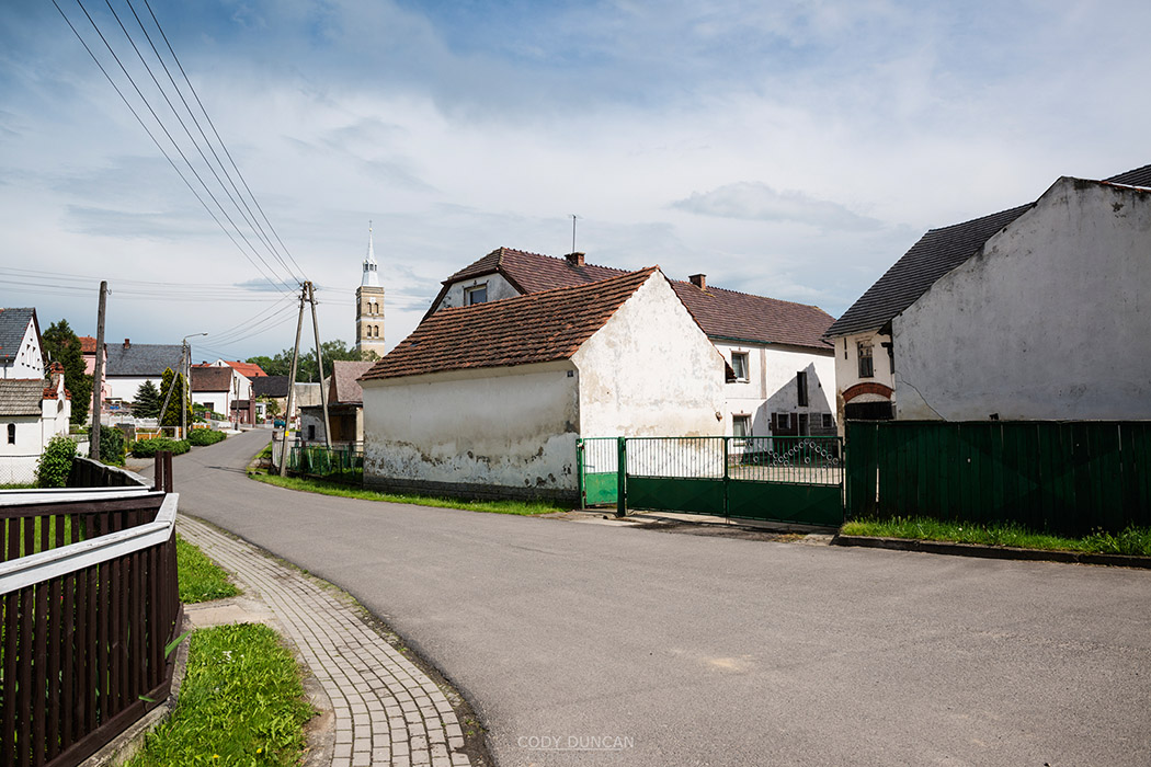 Old buildings in rural village Scmicz - Schmitsch, Opole Voivodship, Poland
