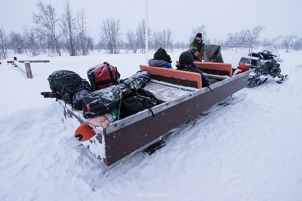 Snow mobile transport from Nikkaluokta to Kebnekaise Fjallstation
