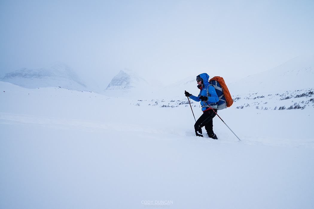 ski touring in deep snow near Kebnekaise Fjällstation, Lapland, Sweden