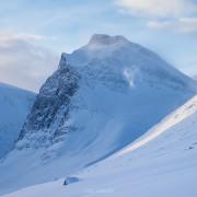 Winter mountain landscape of Ladtjovagge valley viewed from near Kebnekaise Fjällstation, Lapland, Sweden