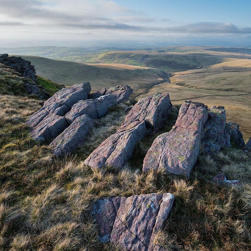 Rock outcropping on ridge of Carmarthen Fans - Bannau Sir Gaer, Black Mountain, Brecon Beacons national park, Wales