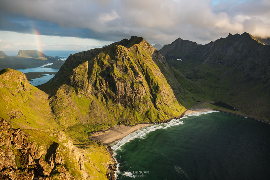 Looking down on Kvalvika beach from near summit of Ryten, Lofoten Islands, Norway