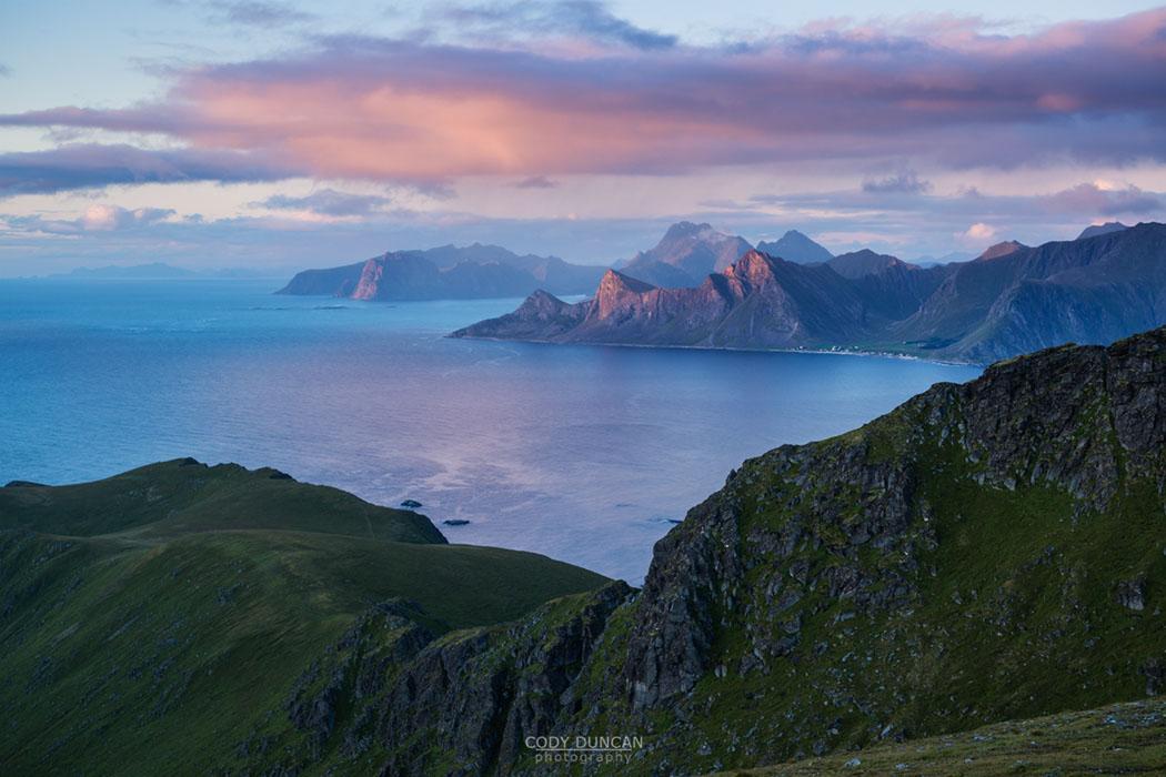 Dramatic coastal mountain landscape viewed from Ryten, Lofoten Islands, Norway