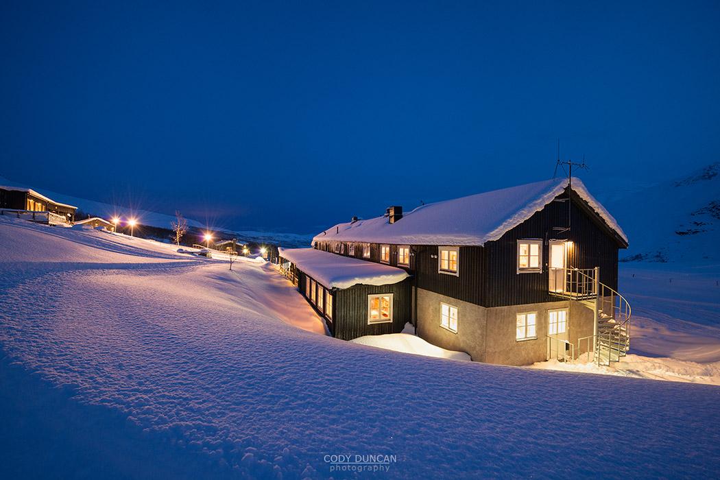 Winter night at Kebnekaise Fjällstation, Lapland, Sweden