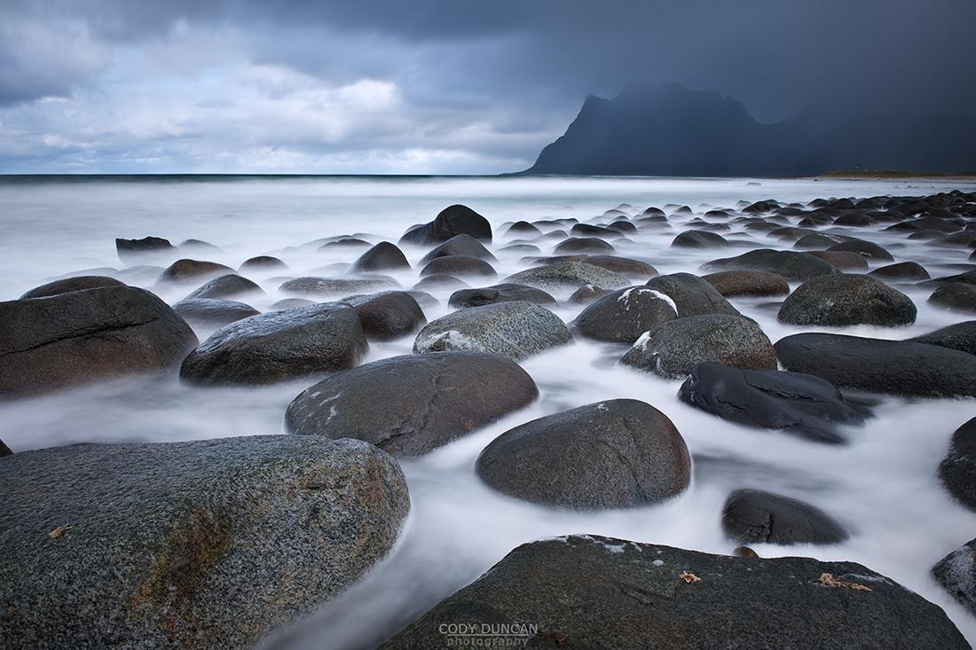 Tidal rock at Utakleiv beach, Vestvagøy, Lofoten islands, Norway