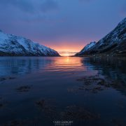 January sun over Skjelfjord, Lofoten Islands, Norway