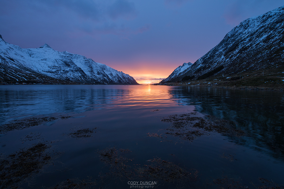 January sun over Skjelfjord, Lofoten Islands, Norway